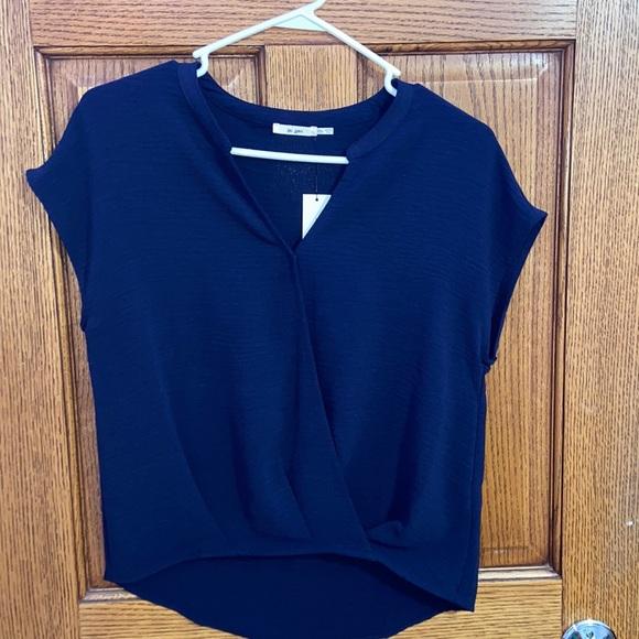Short sleeve casual dark blue blouse